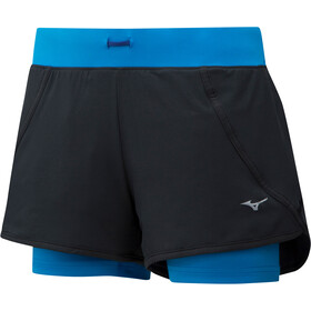 Mizuno Mujin 4.5 2in1 Shorts Women black/brilliant blue